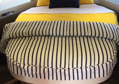 Yacht Bedding Black and White Stripes with Yellow Sheets