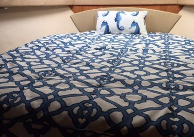 Yacht Bedding Blue and White with Seahorse Pillow