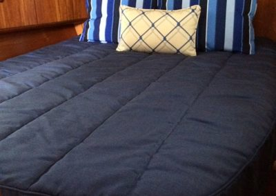 Yacht Bedding Solid Navy Comforter and Striped Pillows